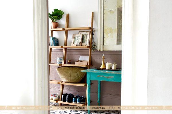 Kệ thẳng gỗ sồi nhỏ decor đẹp đựng đồ gia đình, spa, nail, salon tóc