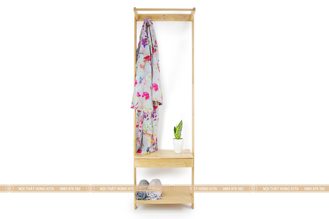 Kệ treo quần áo hình thang gỗ sồi đẹp cho phòng trọ