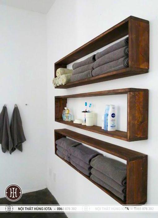 Ke gỗ treo tuong dung khan hinh chữ nhật dài