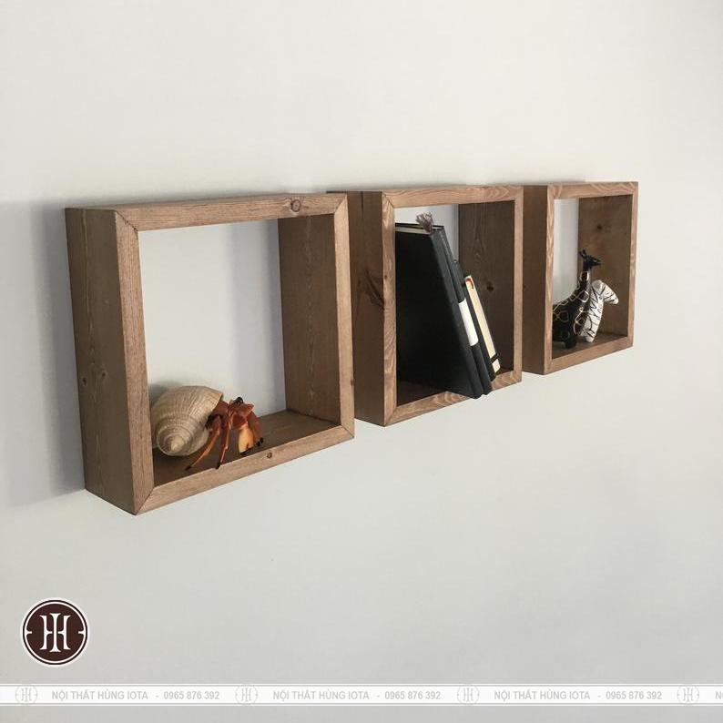 Kệ treo tường gỗ hình vuông đơn giản cho spa giá rẻ