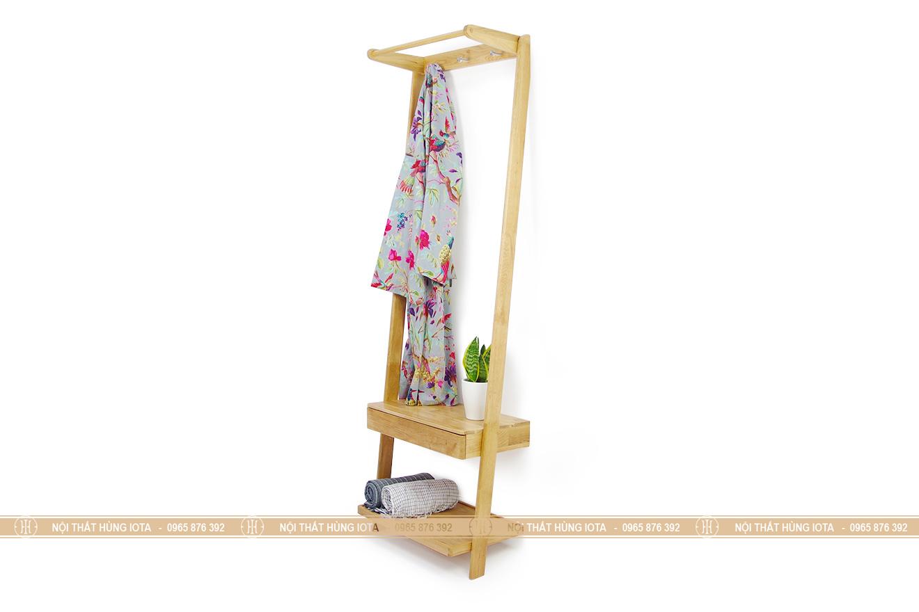 Kệ tủ quần áo hình thang decor gỗ sồi cho spa, nail, salon, phòng trọ