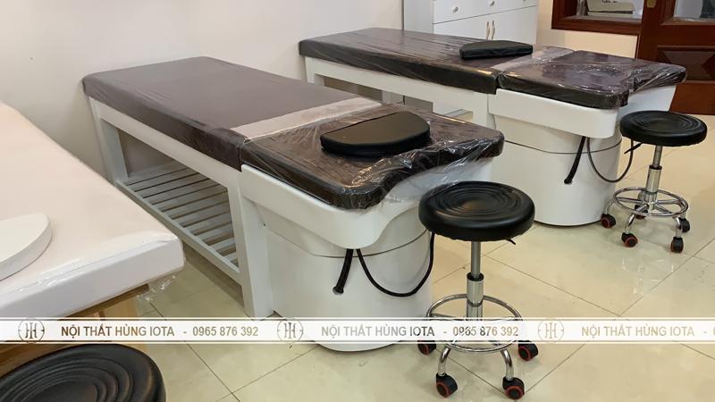 Lắp đặt giường gội spa 2 in 1 ở Bắc Ninh bồn sứ, phụ kiện inox