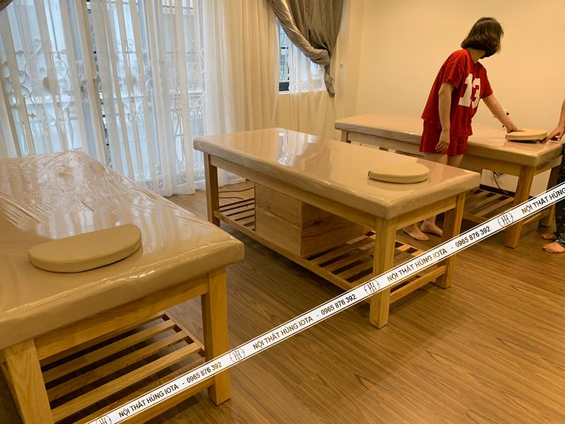 Lắp đặt giường spa hàn Quốc gỗ sồi có tủ
