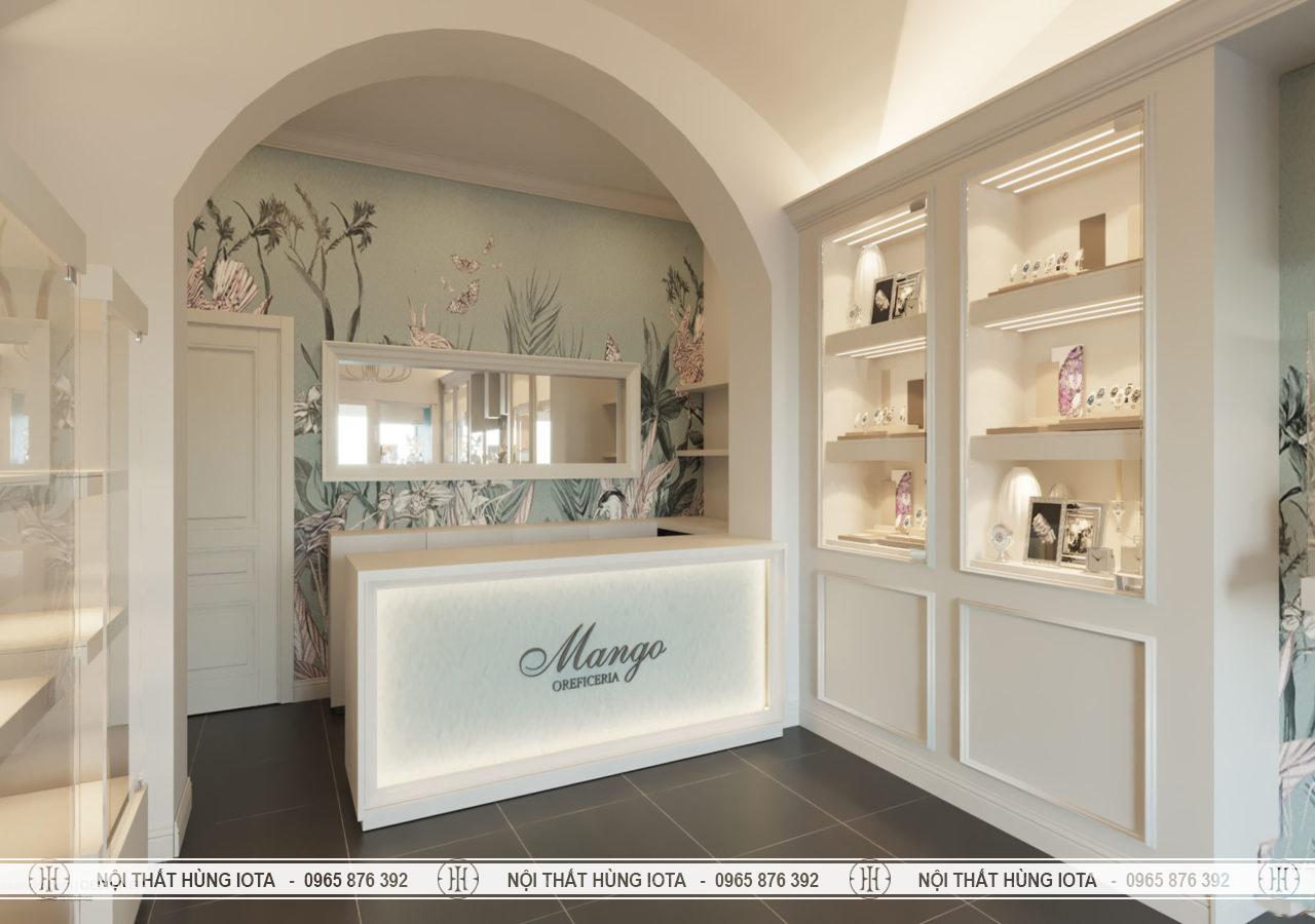 Quầy thu ngân spa, nail, salon tóc màu trắng đẹp giá rẻ