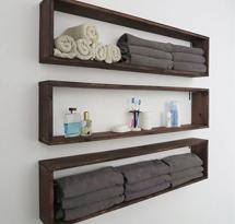 Kệ gỗ đựng khăn treo tường hình chữ nhật spa, nail, salon tóc, gia đình KTD18