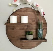 Kệ gỗ tròn và đợt ngang trang trí spa, nail, salon KTD11