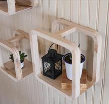 Kệ gỗ vuông decor cho spa, nail, salon KTD15