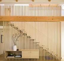 Vách gỗ ốp cầu thang cho phòng khách gia đình, spa, nail VNP02