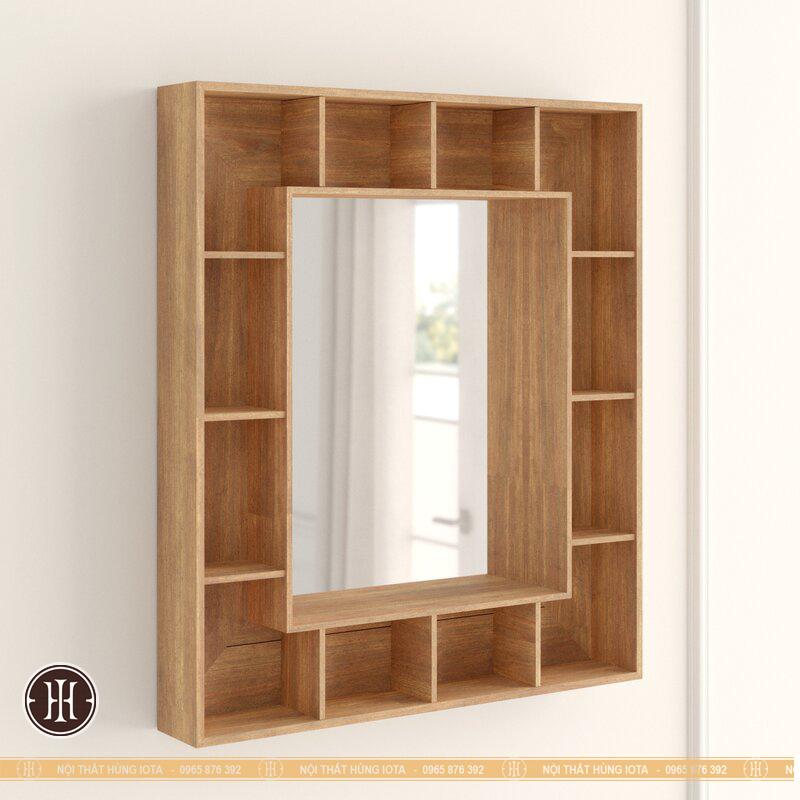 Tủ gỗ decor treo tường có gương cho tiệm nail, tiệm salon tóc