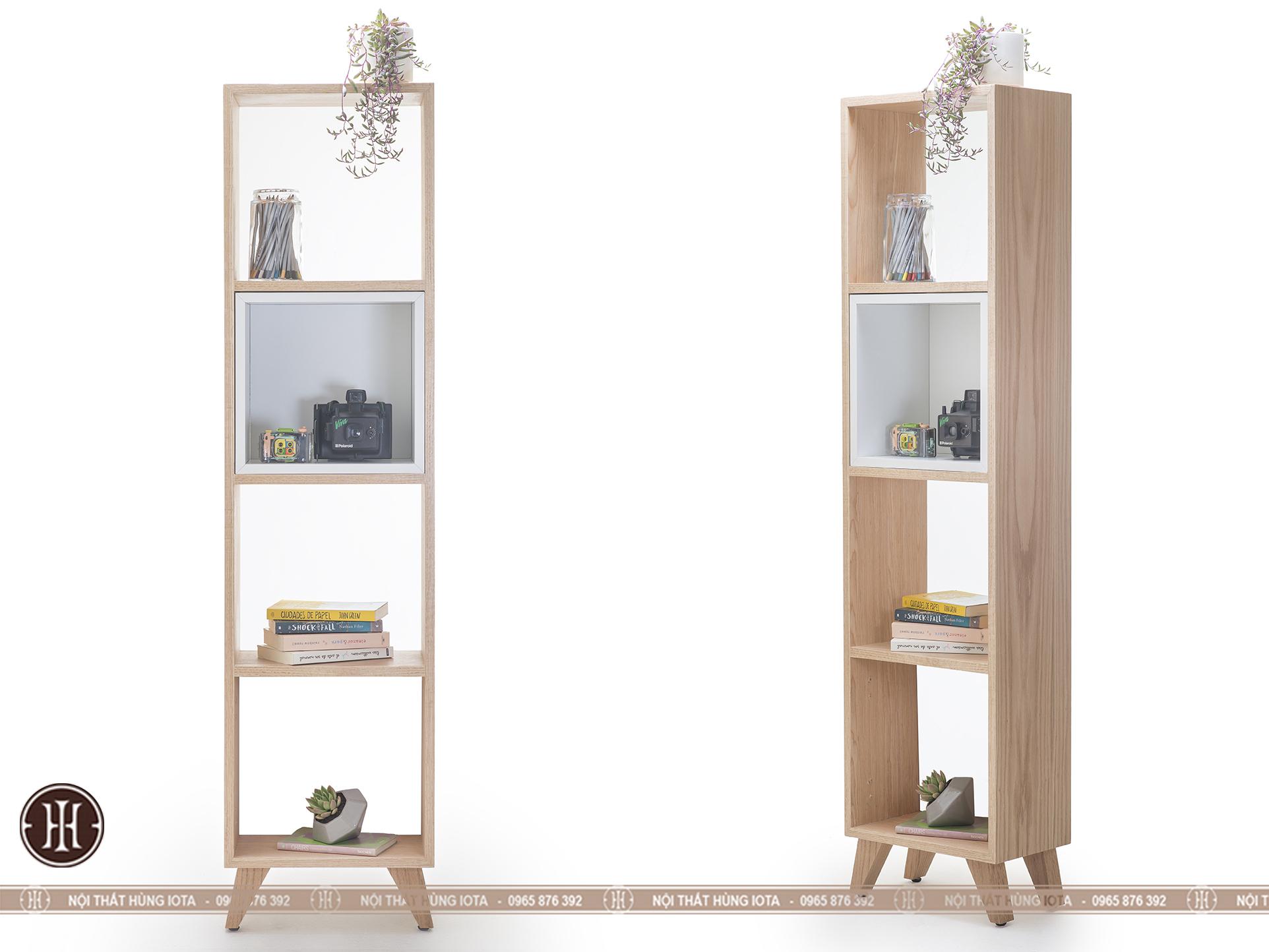 Tủ gỗ đựng đồ hình chữ nhật cao 4 tầng cho phòng ngủ, phòng khách