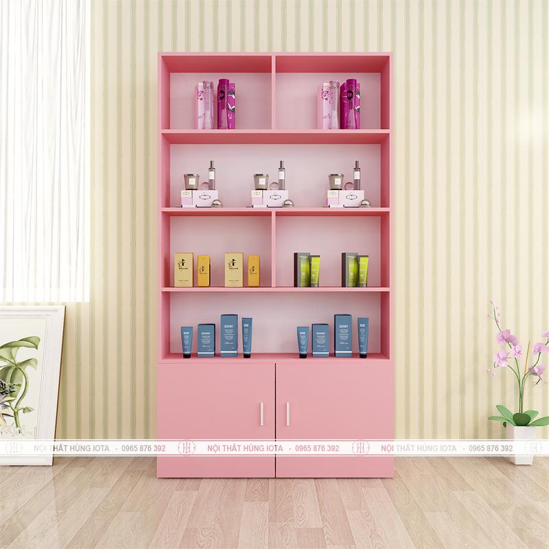 Tủ mỹ phẩm giá rẻ cho spa màu hồng