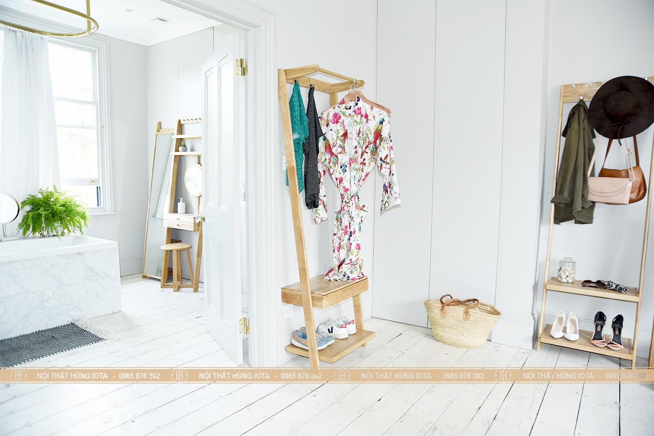 Tủ quần áo hình thang gỗ sồi decor đẹp giá rẻ