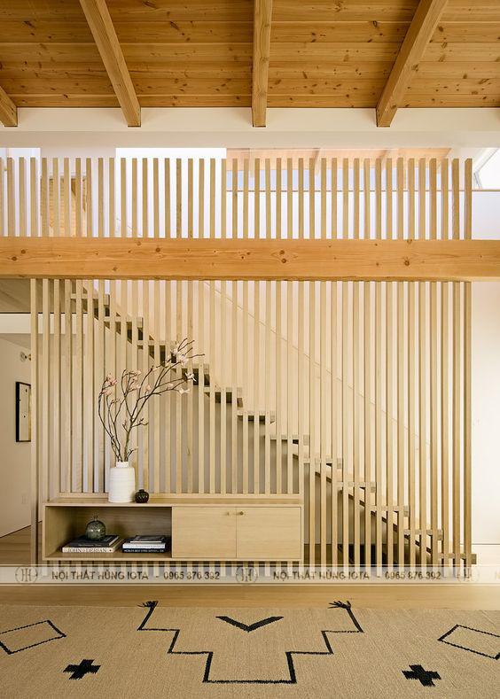 Vách gỗ ốp tường phòng khách đẹp giá rẻ hay vách ốp chân cầu thang spa