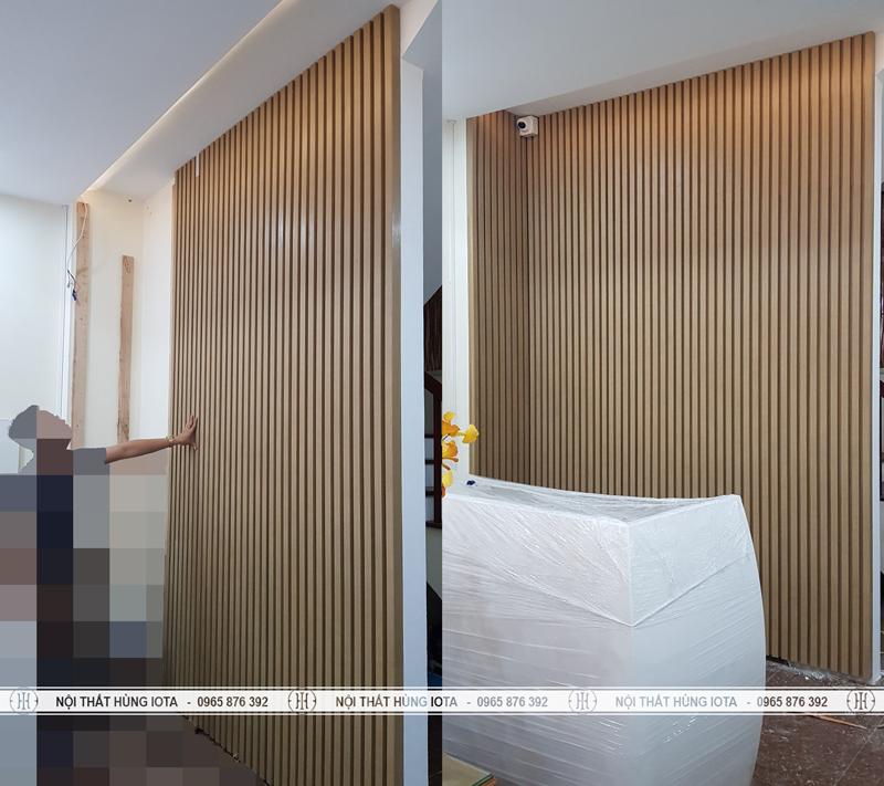 Vách ngăn phòng khách gia đình spa, nail, salon tóc gỗ đẹp giá rẻ