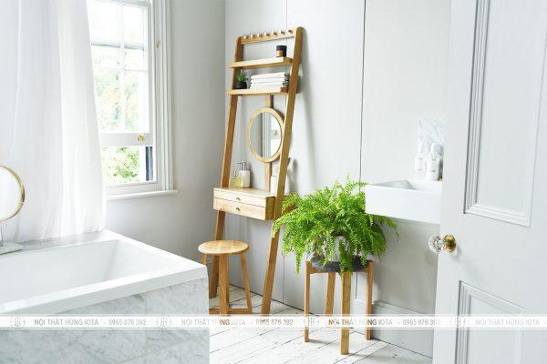 Bàn trang điểm nhỏ gỗ sồi decor giá rẻ cho gia đình, spa, nail, salon