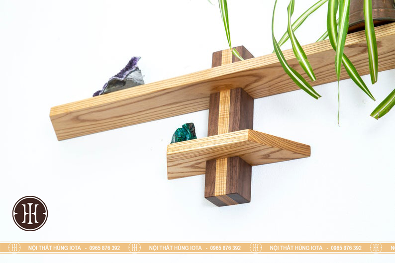 Đợt gỗ ngang 2 tầng nhỏ cho spa trang trí phòng
