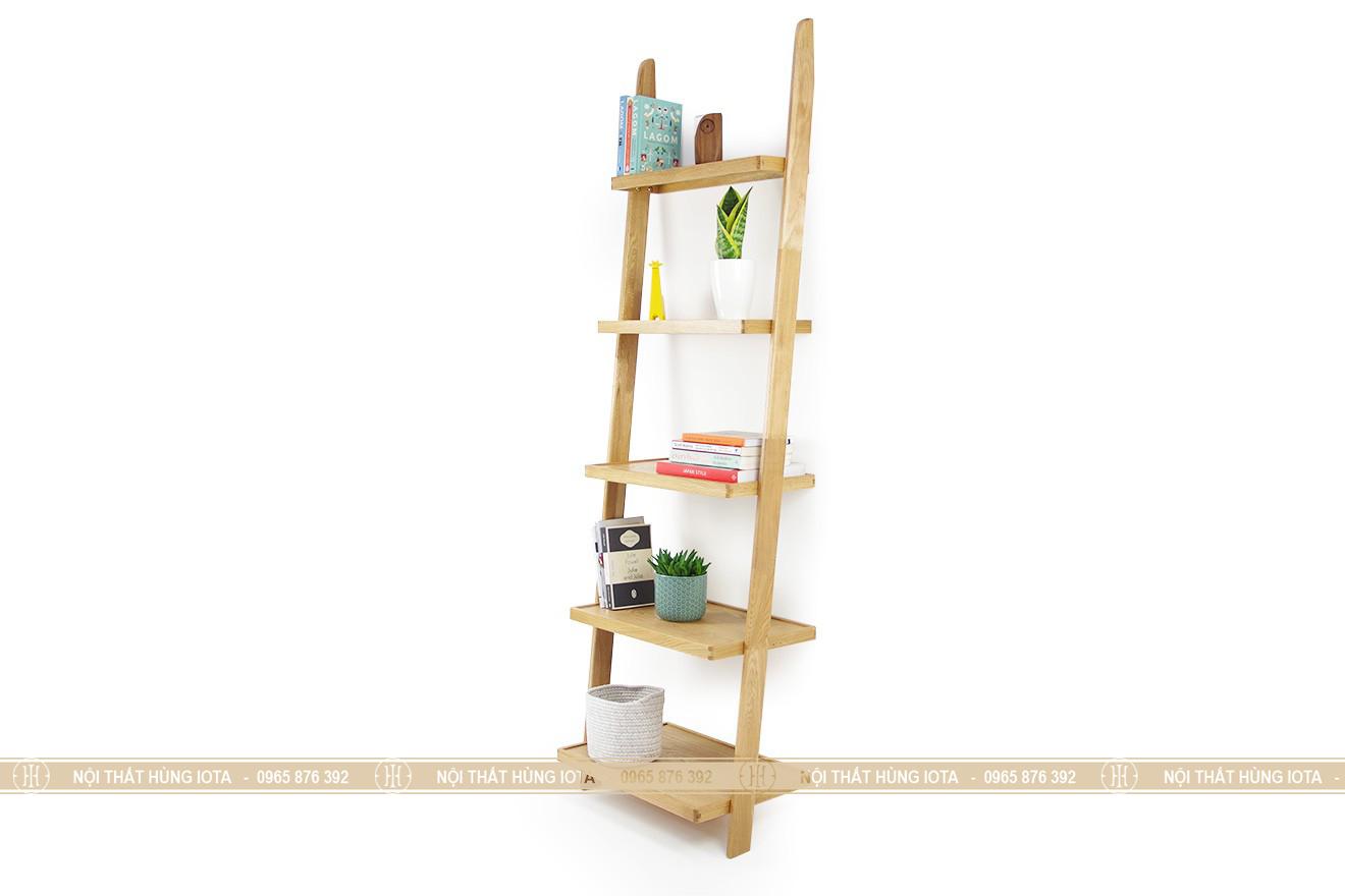 Kệ gỗ sồi đẹp 5 tầng giá rẻ hình thang trang trí phòng