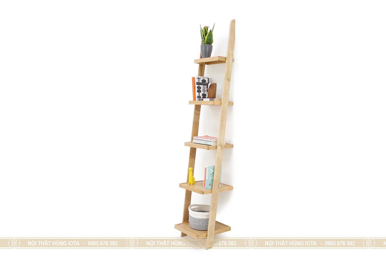Kệ gỗ sồi nhỏ 5 tầng đựng sách, chậu cây trong nhà