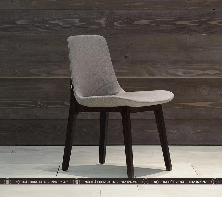 Ghế bàn ăn cafe decor gỗ sồi chất nỉ màu xám đen, đẹp
