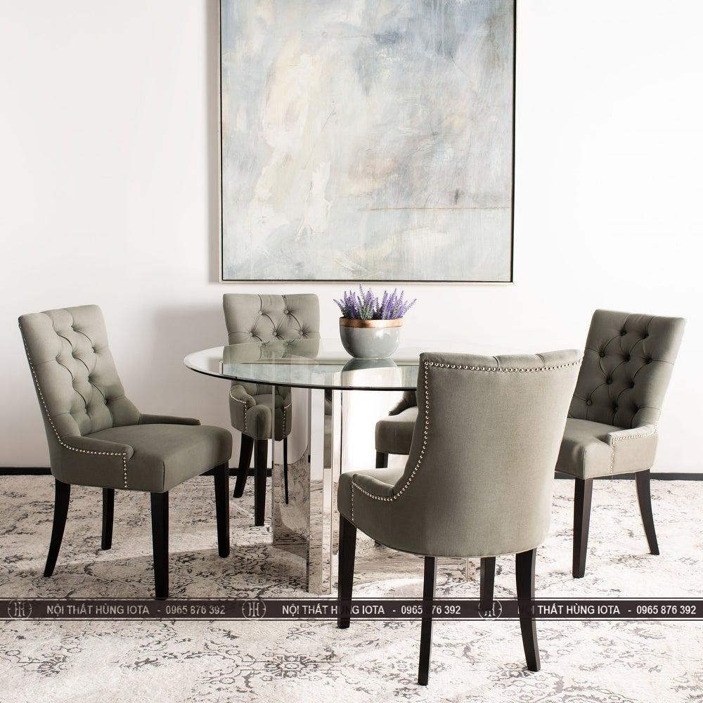 Ghế gỗ decor màu xám đẹp giá rẻ làm bàn ăn sang trọng
