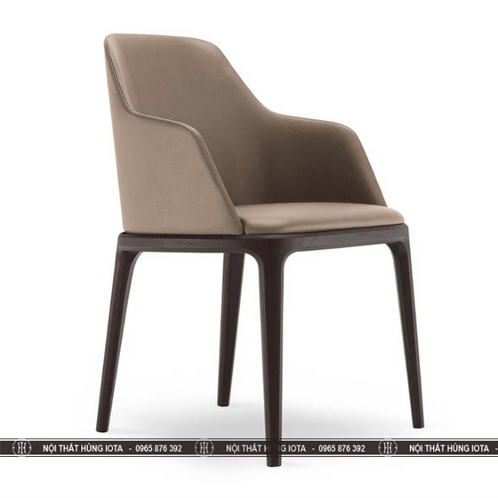 Ghế Grace chân thường màu nâu đen - trắng sữa làm ghế ăn, ghế văn phòng, ghế ngồi cafe