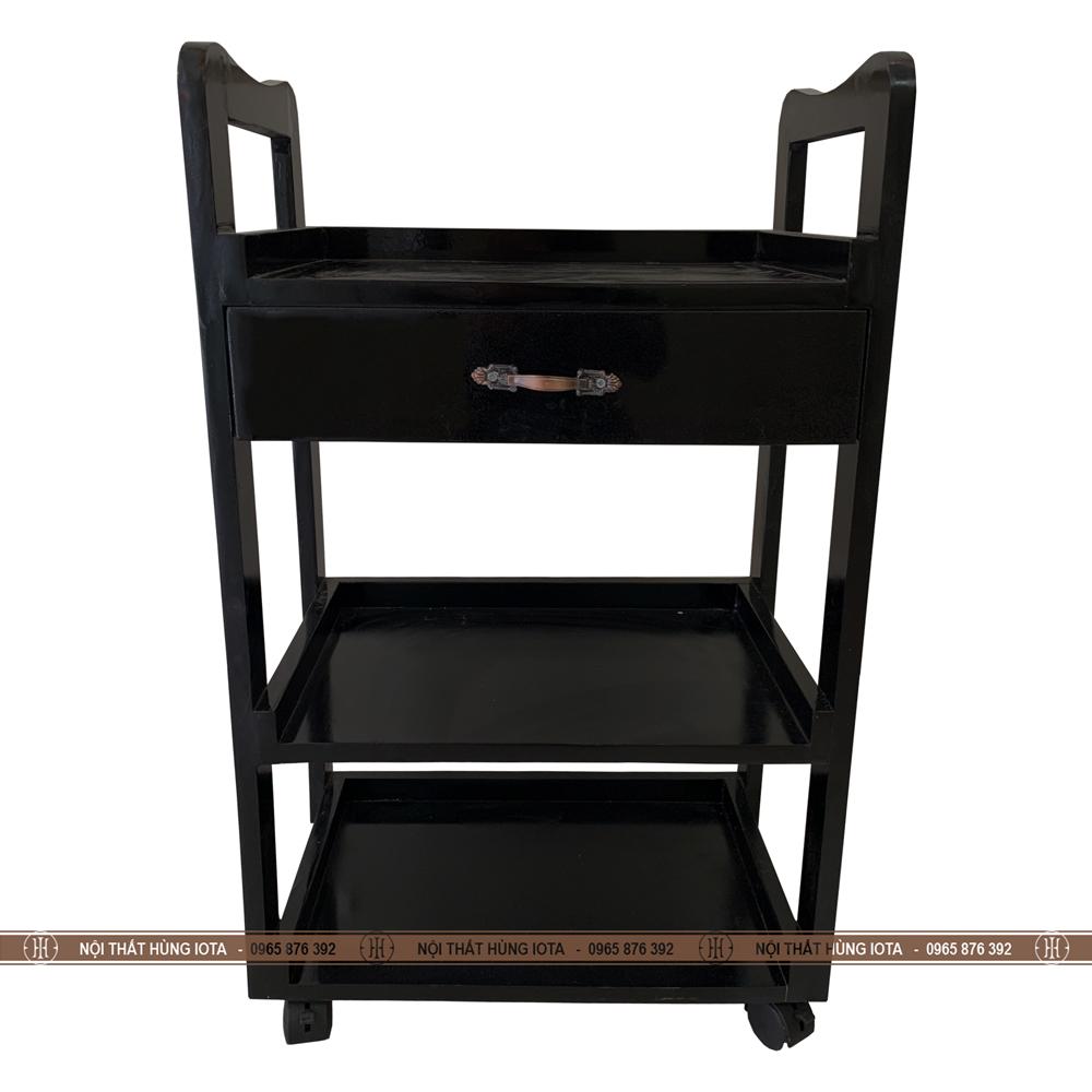 Kệ đựng dụng cụ màu đen có bánh xe cho spa, nail, salon tóc