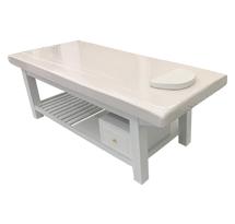 Giường spa có tủ nhỏ khoét mặt đệm màu trắng GSP34