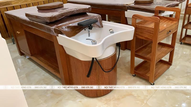 Xe đẩy gỗ xoan đào và giường gội 2 in 1 bồn sứ tại Lạng Sơn
