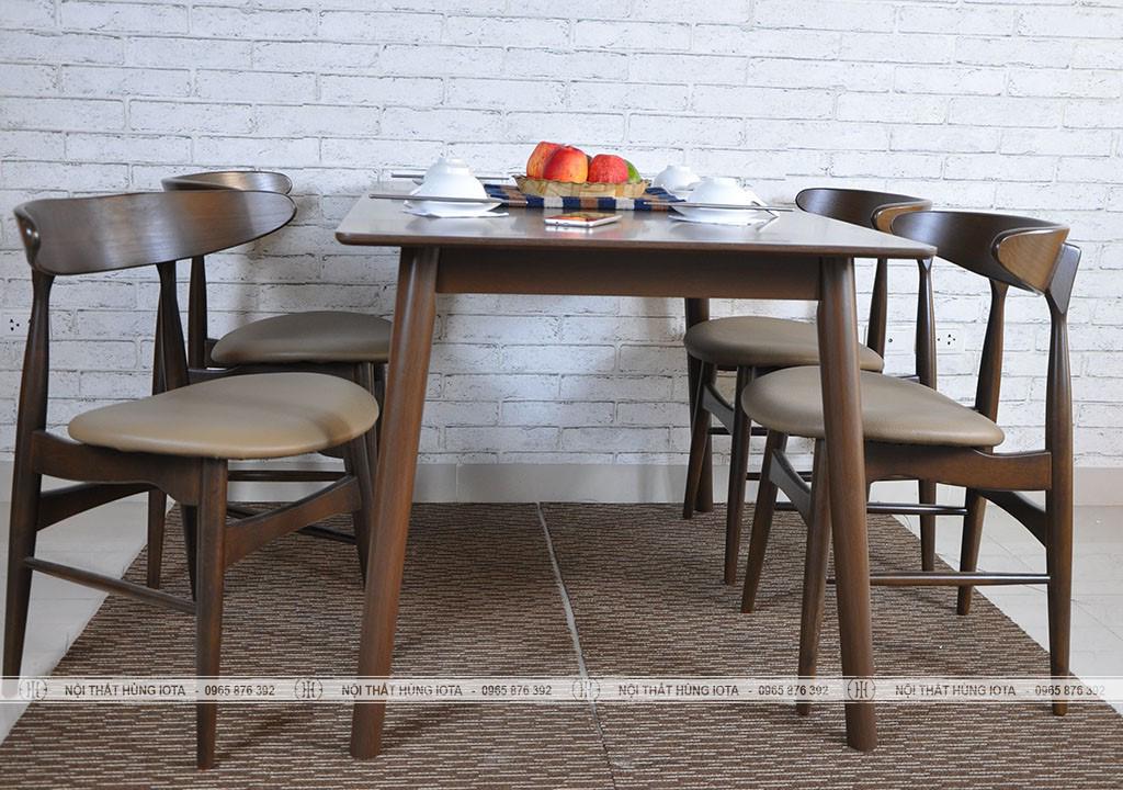 Bàn ghế ăn gia đình decor hình mặt trăng màu hạt dẻ đẹp giá rẻ