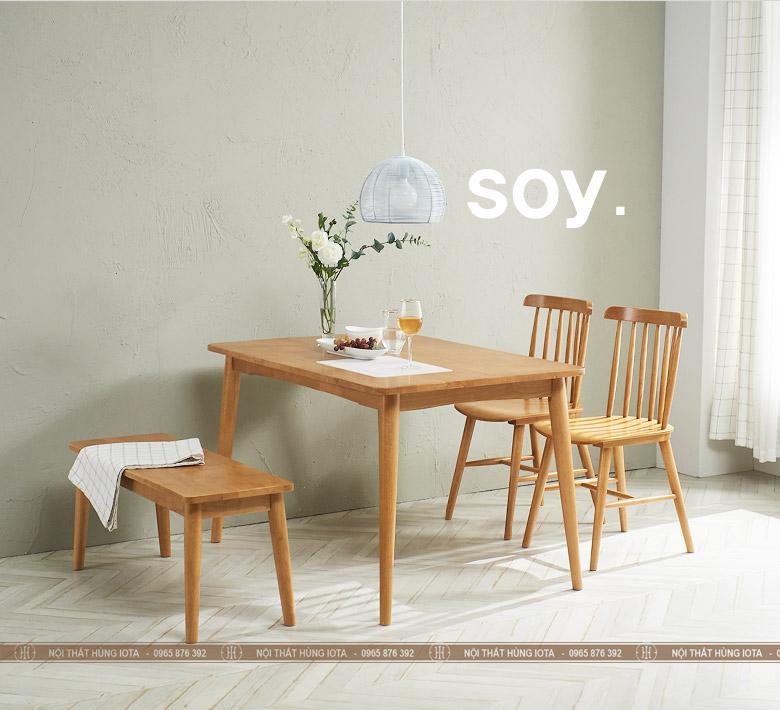 Bàn ghế ăn song tiện 7 nan Pinnstol màu vàng gỗ đẹp giá rẻ