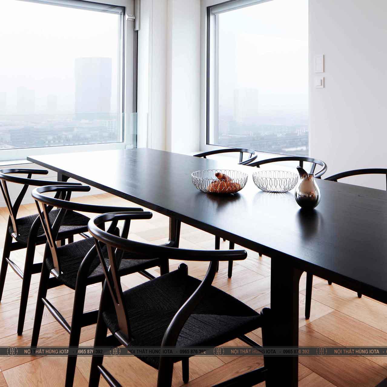 Bàn ghế decor wishbone đan mây gỗ sồi màu đen đẹp giá rẻ