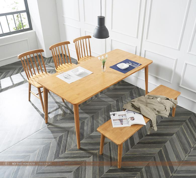 Bàn ghế gỗ làm việc Pinnstol 7 nan song tiện màu vàng gỗ decor