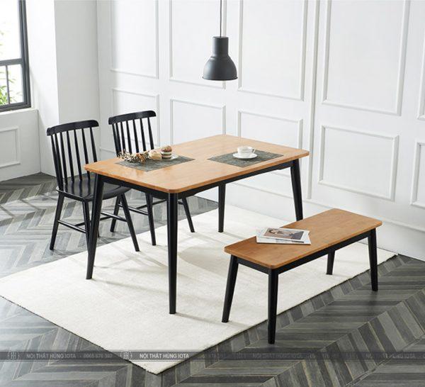 Bộ bàn ghế ăn gia đình có nan tựa 7 nan đẹp giá rẻ phong cách decor