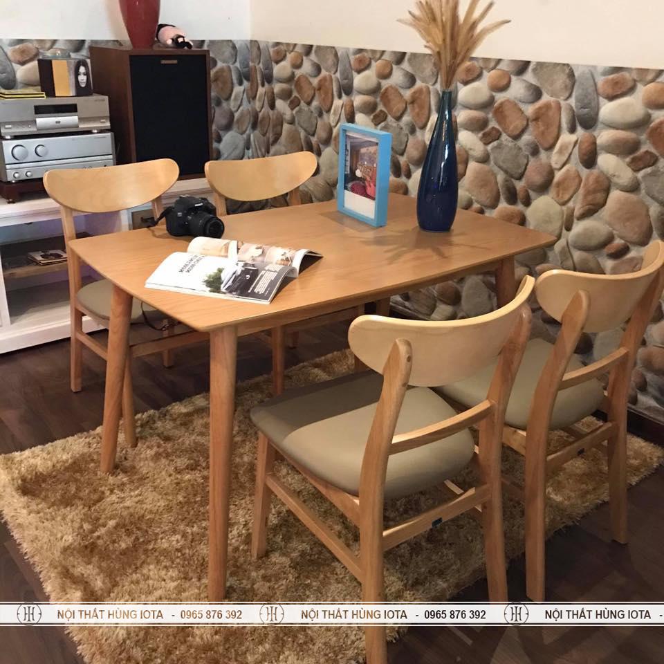 Bộ bàn ghế ăn Mango màu vàng gỗ decor đẹp giá rẻ