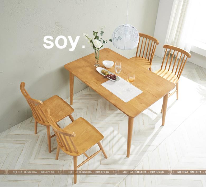Bộ bàn ghế ăn Pinnstol 7 nan song tiện đẹp giá rẻ