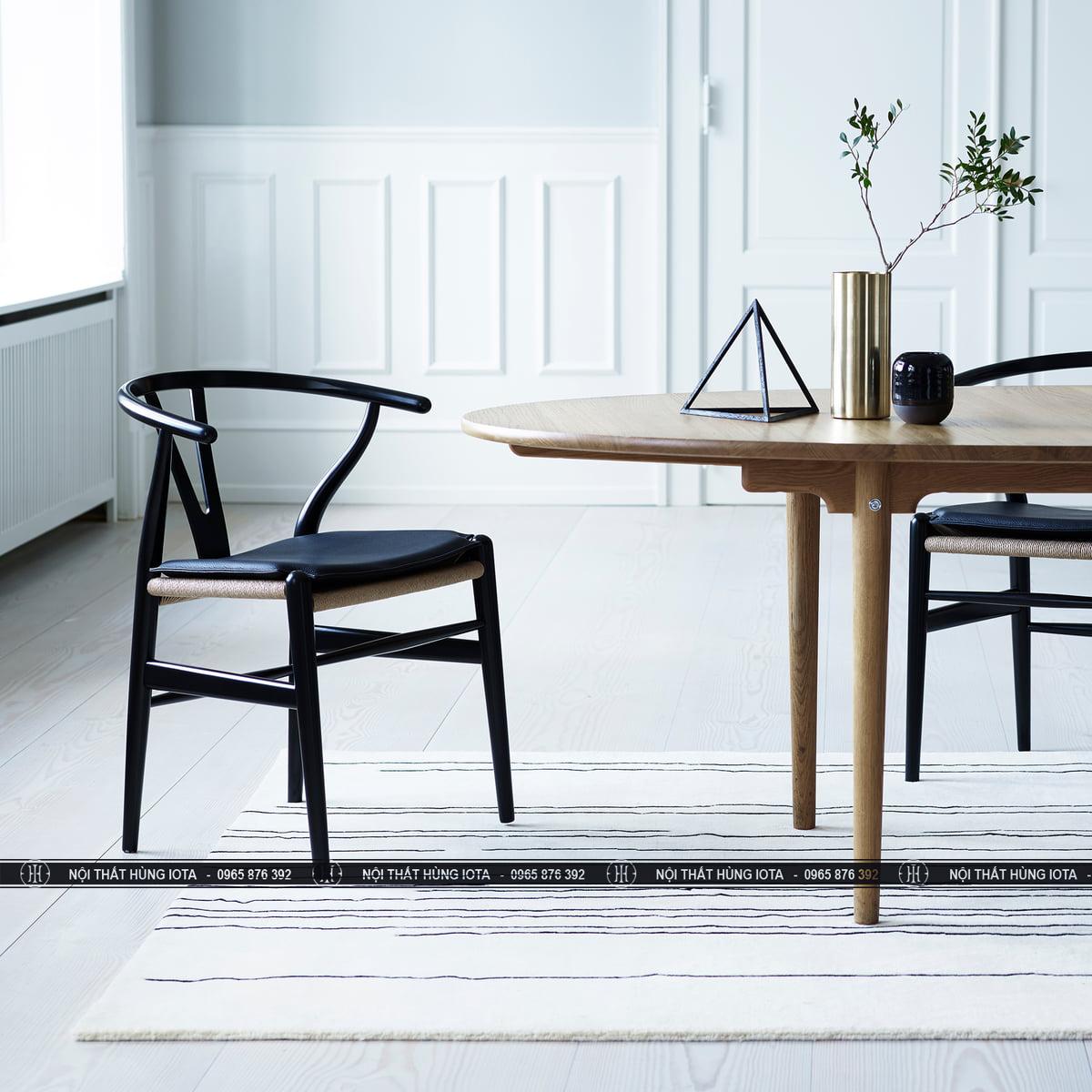 Bộ bàn ghế wishbone mặt đệm làm bàn ăn, bàn ghế cafe đẹp giá rẻ