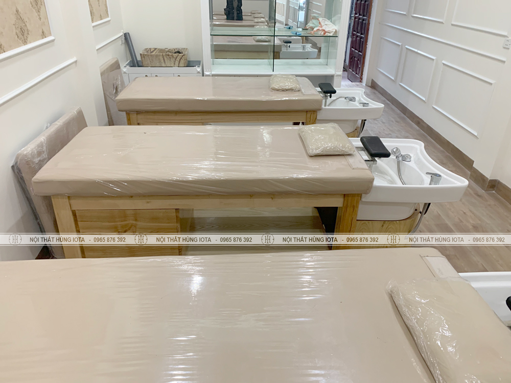 Giường gội spa 2 in 1 màu gỗ tự nhiên đẹp giá rẻ
