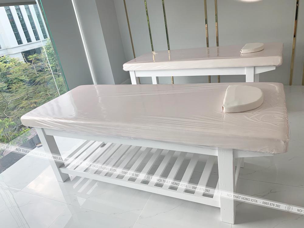 Giường spa màu vàng trắng đẹp giá rẻ lắp đặt tại Id Beauty Center Bà Triệu