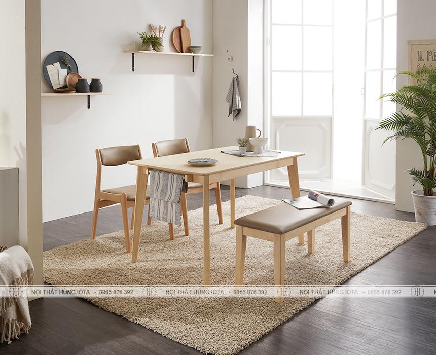 Bàn ghế ăn gia đình Benla decor màu vàng gỗ tự nhiên đẹp giá rẻ