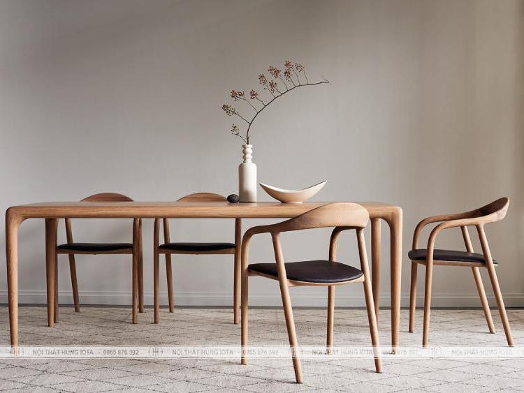 Bàn ghế ăn neva 6 ghế gỗ decor đẹp giá rẻ màu vàng gỗ