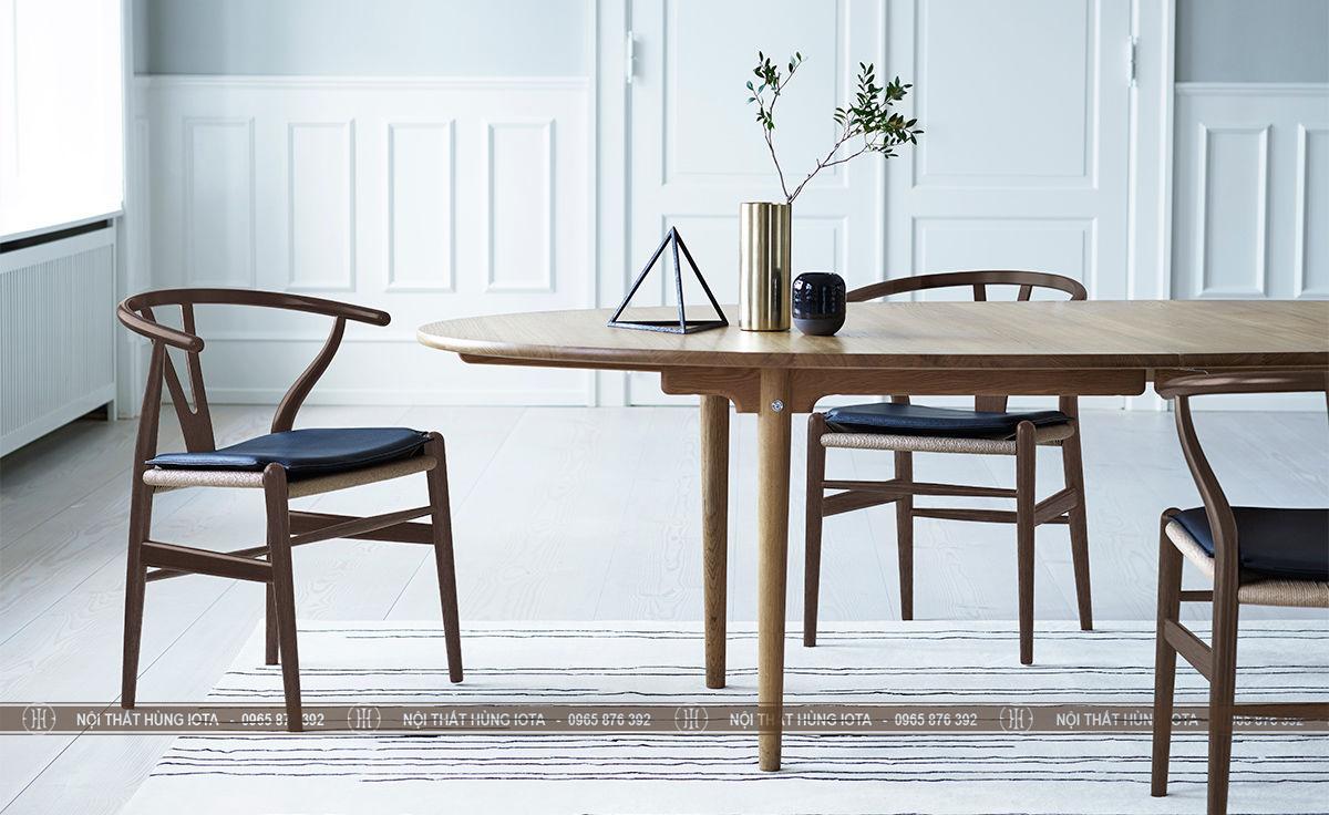 Bộ bàn ghế mặt đệm wishbone làm ghế ăn, ghế cafe, ghế làm việc sang trọng