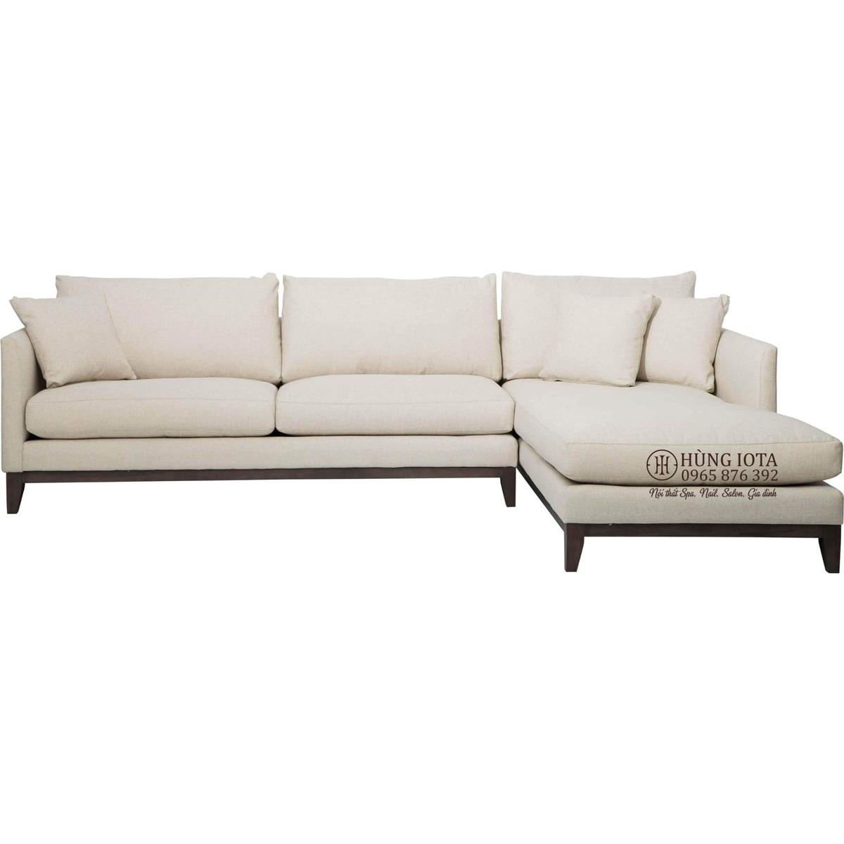 Ghế sofa cho chung cư kiểu dáng chữ L màu trắng hồng nhạt vải nỉ thô