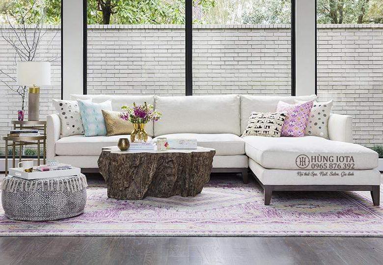 Ghế sofa chữ L cho gia đình màu trắng hồng nhạt chất nỉ