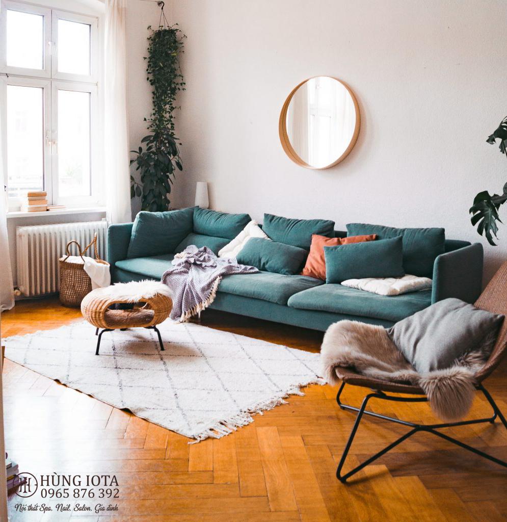 Ghế sofa chung cư màu xanh lục đẹp giá rẻ phong cách decor