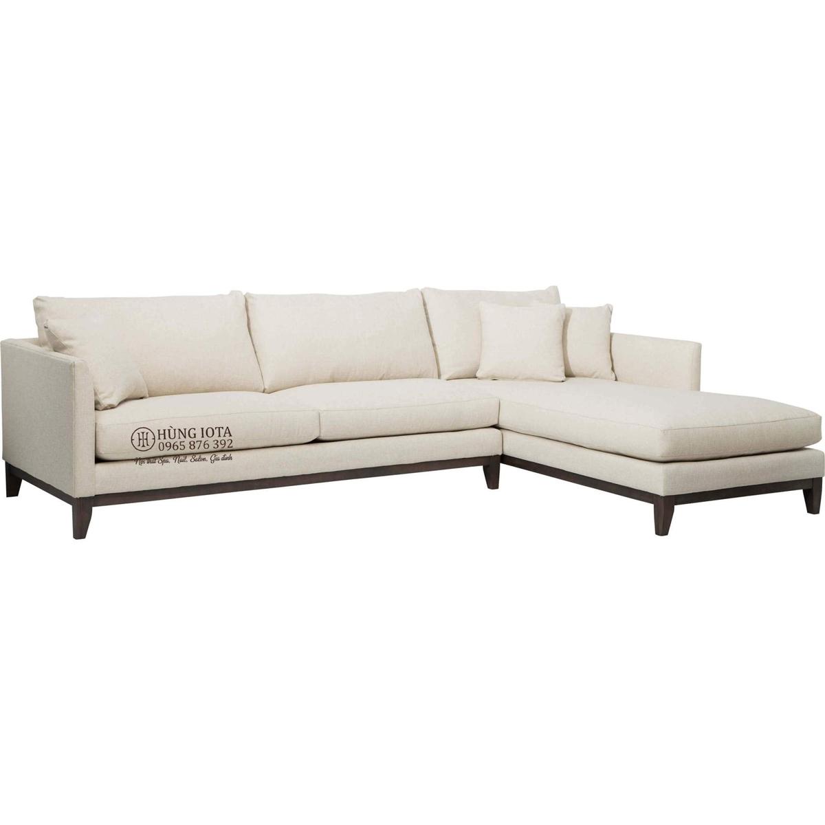 Ghế sofa gia đình chữ L màu trắng nhạt chất nỉ thô đep giá rẻ