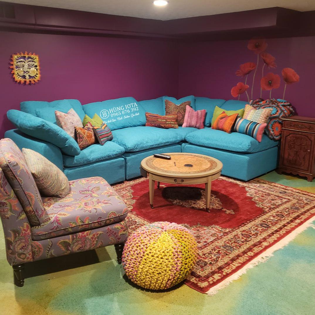 Ghế sofa gia đình chữ L màu xanh dương đẹp giá tại xưởng