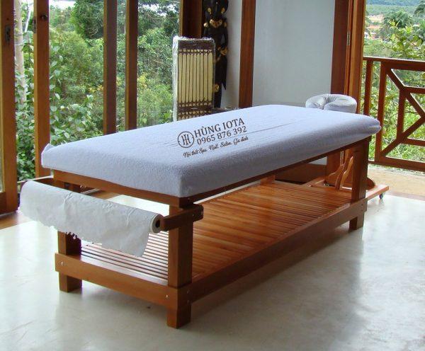 Giường massage body cao cấp cho khách sạn màu vàng gỗ