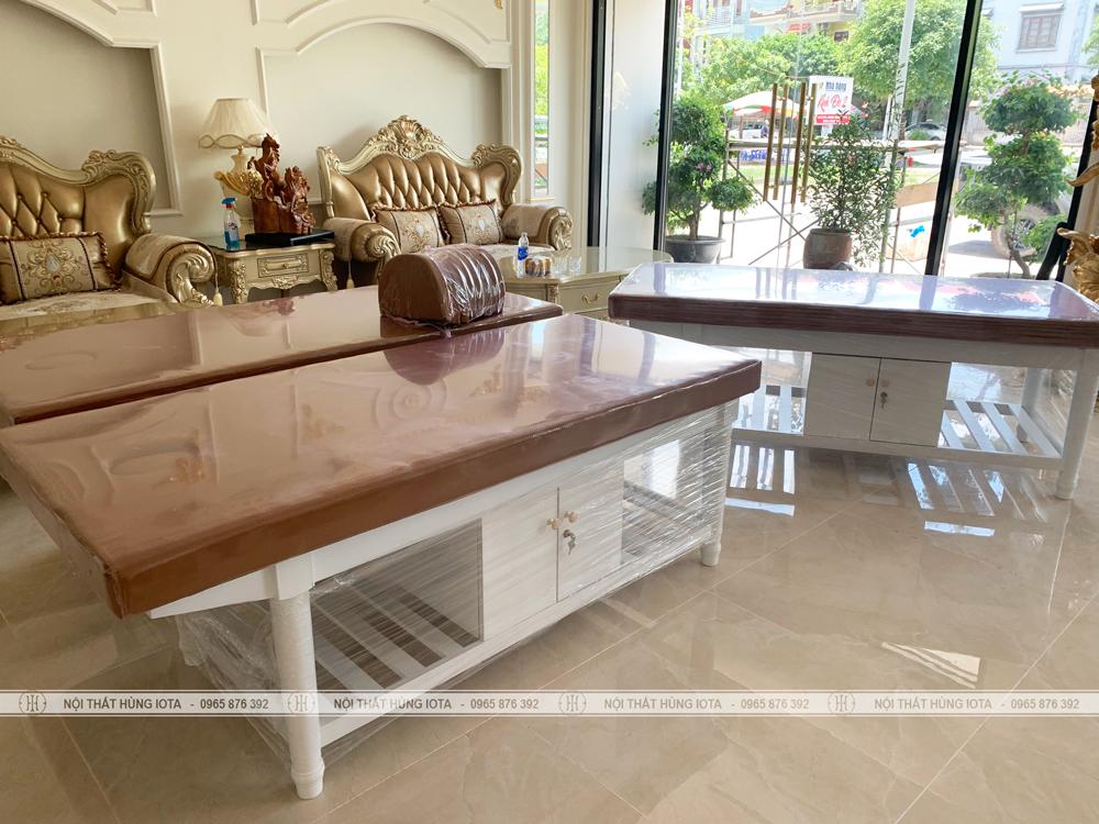Giường massage gỗ sồi có tủ đẹp giá rẻ lắp đặt tại Móng Cái, Quảng Ninh cho Kinh Đô Spa