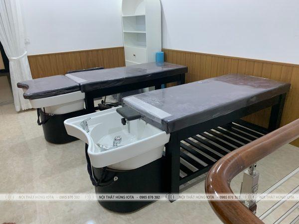 Giường nằm gội spa màu đen bồn sứ 2 in 1 đẹp giá xưởng sản xuất