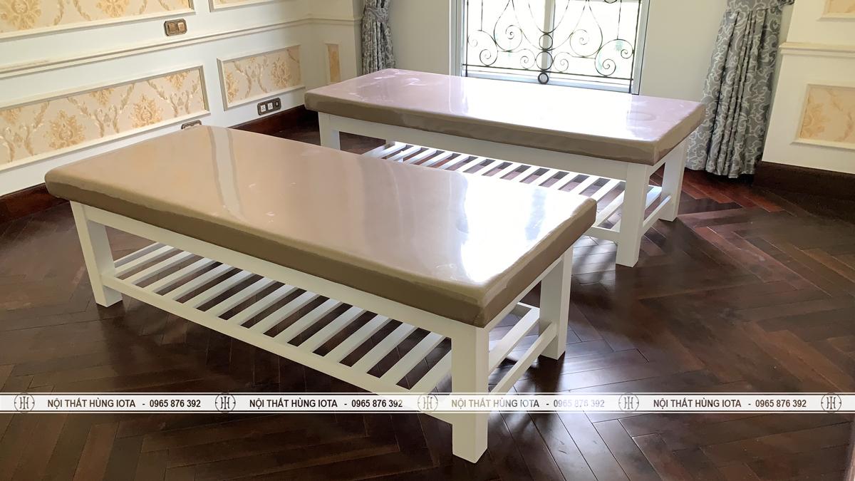 Giường spa chân thấp làm massage body gỗ sồi màu trắng đục